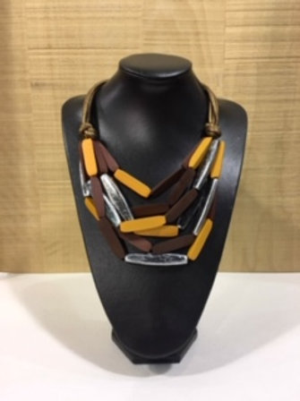 Collier en bois jaune et brun AXELLE