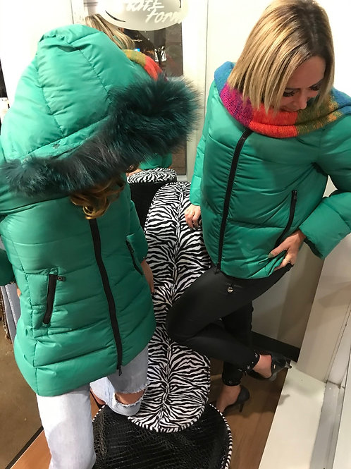 Manteau d'hiver AVEC CAPUCHE vert émeraude COMPAGNIE DES LACS ET DES FORÊTS