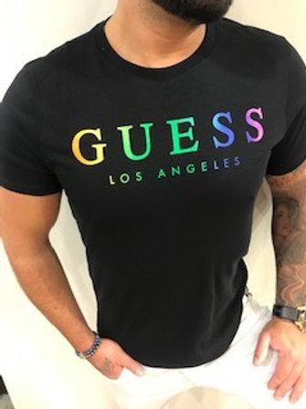 T-shirt noir imprimé multicolore Guess