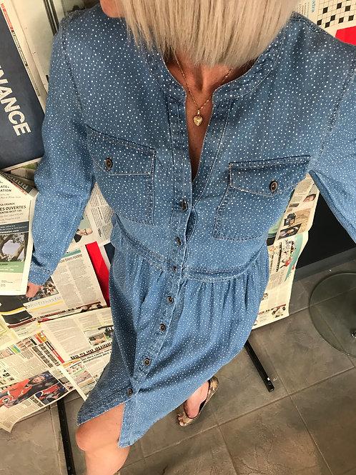 Robe bleue à pois en denim Edc