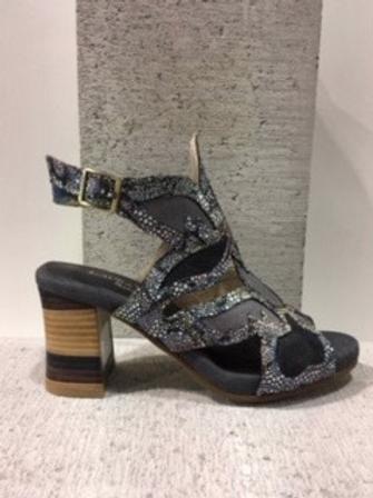 Sandale noire couture multicolore Laura Vita