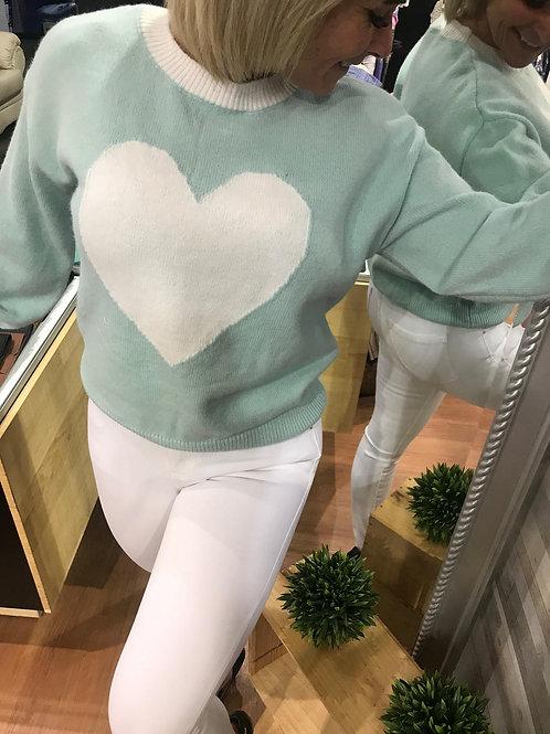 Chandail de laine vert menthe avec cœur Collection italienne
