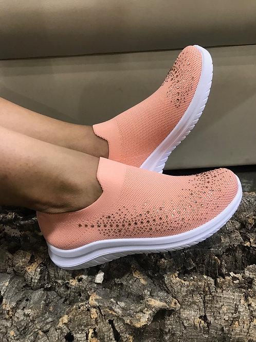 Socks-sneakers saumon avec gemmes Ken's