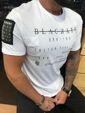 T-Shirt blanc imprimé gris foncé Black Karv