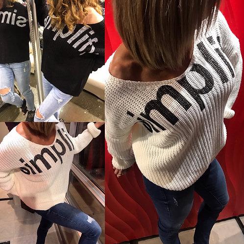 Haut en tricot gris avec imprimé