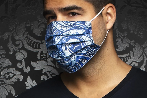 Masque bleu à motif paisley Au Noir