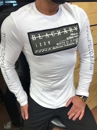 Chandail blanc brodé kaki  manches longues  Black Karv