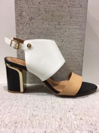 Sandale blanche et beige avec talon doré NOBLEZ