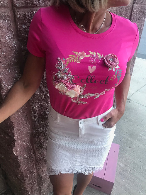 T-shirt rose avec fleurs en relief So Vogue