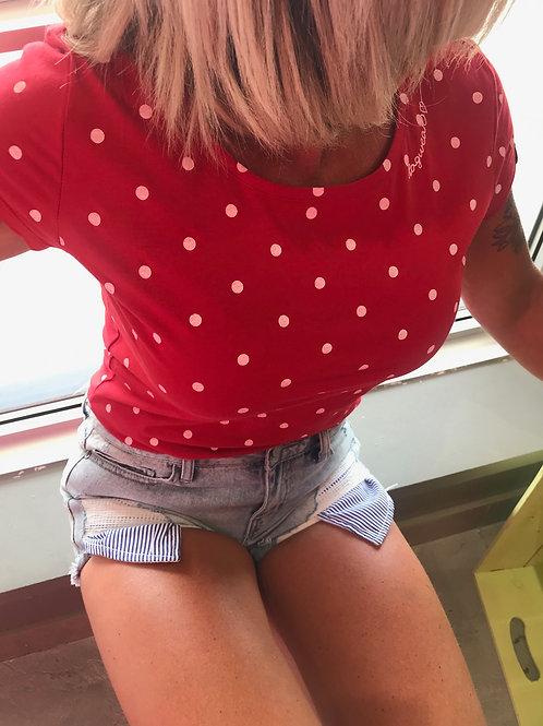 T-shirt rouge à pois Ragwear