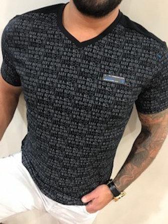 T-shirt noir imprimé écritures grises Black Karv