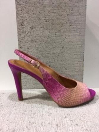 Sandale croco rose et beige Only