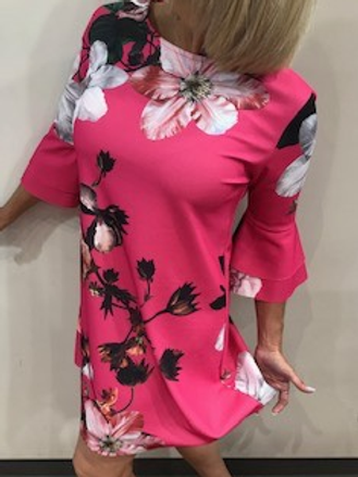 Robe fushia fleurie  Maille Demoiselle