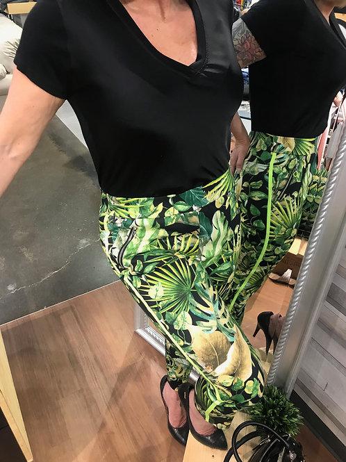 Pantalon vert imprimé feuilles variées Robell