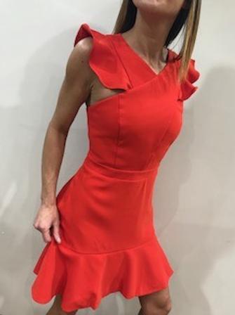 Robe rouge manches courtes frisons AdelynRea