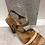 Thumbnail: Sandale tan en cuir avec lanière de rotin NATURAL STEP