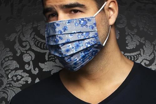 Masque motifs noirs et blancs avec fleurs bleues Au Noir
