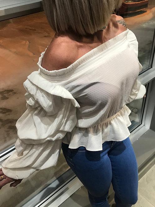 Haut blanc épaules dénudées Guess