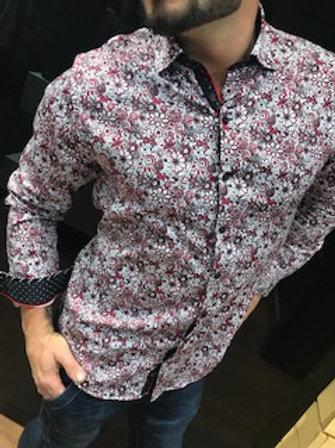 Chemise manches longues  fleurie rouge  et  blanc AuNoir