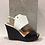Thumbnail: Sandale noire et blanche avec talon compensé en rotin noir ATELIERS