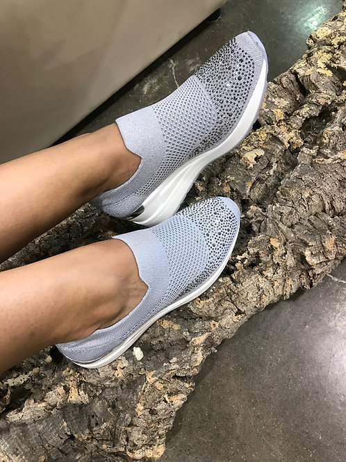 Sock-sneakers plateforme gris avec gemmes Ken's