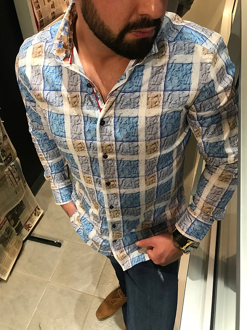 Chemise bleue à carreaux Sloane