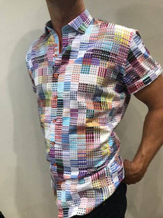 Chemise manches courtes multicolore AU NOIR
