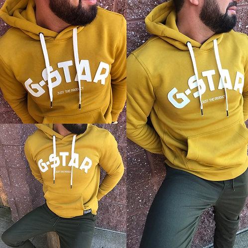 Cagoule jaune avec texte blanc G-Star