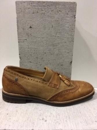 Chaussure tan en cuir et suède FEUD