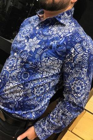Chemise à manches longues bleu à motifs  Au Noir