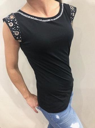 T-shirt noir avec brillants au cou et manches  Gaudi