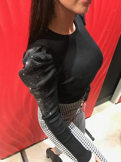 Haut manches longues noir avec brillants COLLECTION ITALIENNE