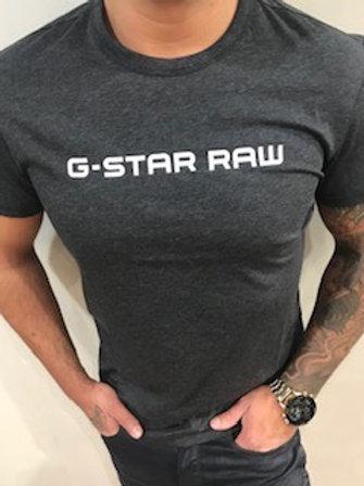 T-Shirt gris foncé imprimé blanc G-Star