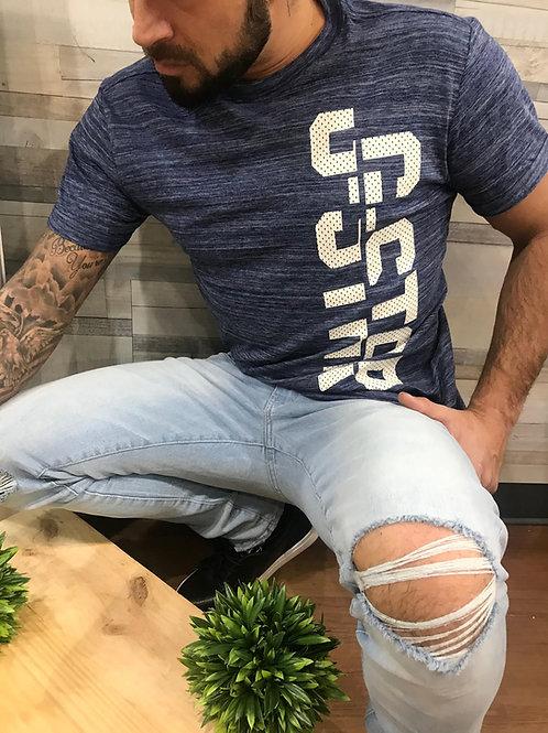 T-shirt bleu imprimé texte blanc G-Star