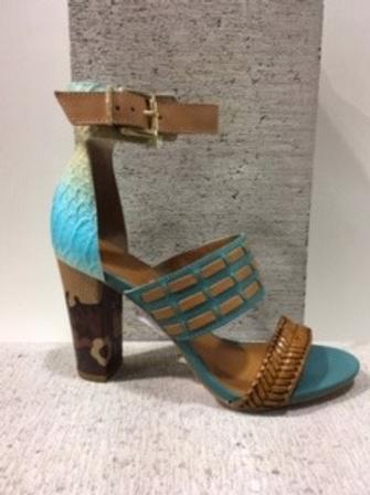 Sandale turquoise et brune à 2 lanières Only