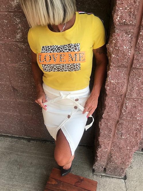 T-shirt jaune motif léopard Paris et Moi