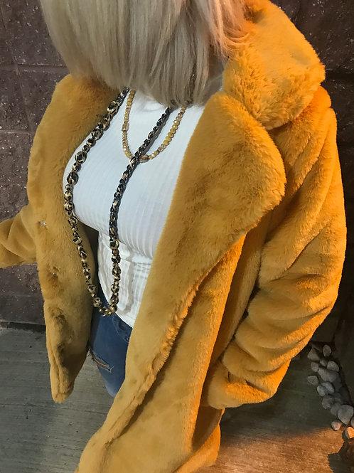 Manteau de fourrure jaune Lulu Love
