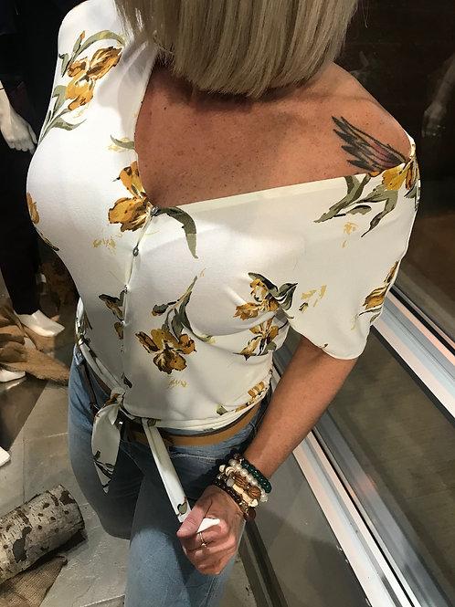 Haut blanc avec fleurs jaunes Dex