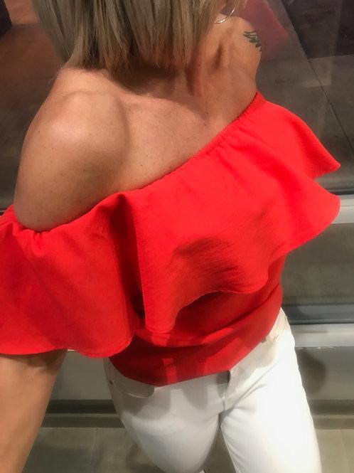 Haut rouge épaule dénudée MOLLY BRACKEN
