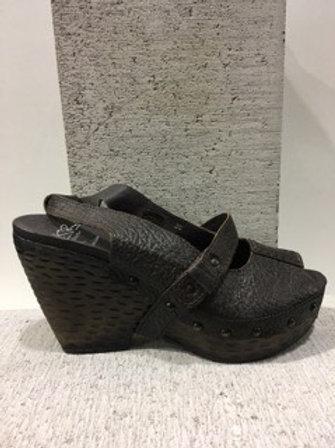 Sandale en cuir noir à talon compensé Bunker