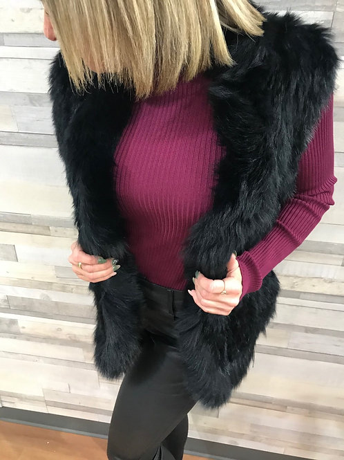 Veste noire en vraie fourrure