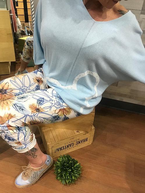 Chandail bleu poudre Mickey en laine Collection italienne