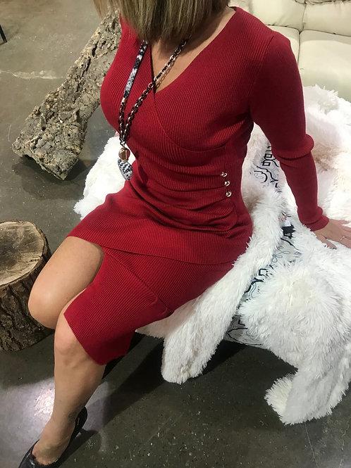 Robe asymétrique rouge COLLECTION ITALIENNE