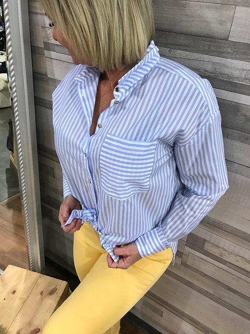 Chemise rayée bleue poudre et blanche Kaffe