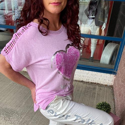 T-shirt rose avec coeur en paillettes Collection italienne