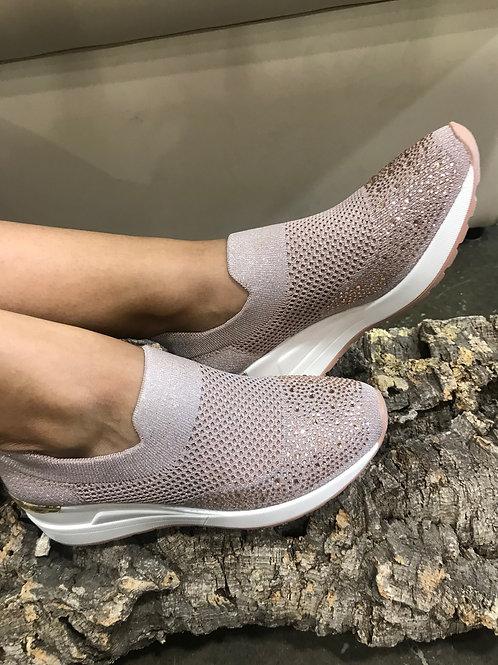 Sock-sneakers plateforme champagnes avec gemmes Ken's