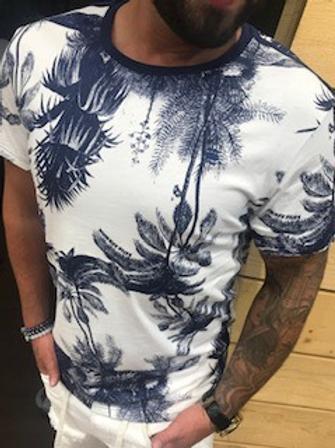T-shirt blanc motifs arbres marines G-Star