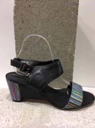 Sandale noire et multicolore en cuir DJANGO & JULIETTE