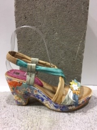 Sandale fleurie multicolore en cuir FLORENTINE