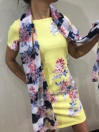 Robe jaune soleil fleurie rose et bleue Joules